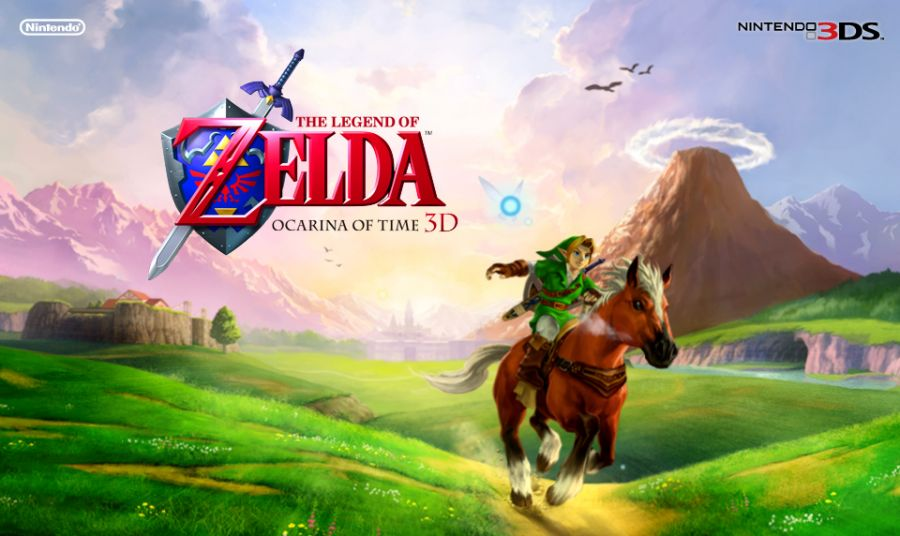The Legend of Zelda: Ocarina of Time 3D promotional art depicting Link riding Epona through Hyrule field