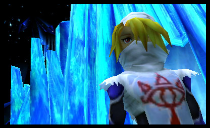 A screenshot of Shiek in the Ice Caves from the 3DS version of Ocarina of Time