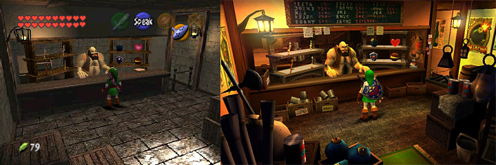 A screenshot comparing the inside of the Hyrule Market Town Shop from the N64 version and the 3DS version of Ocarina of Time