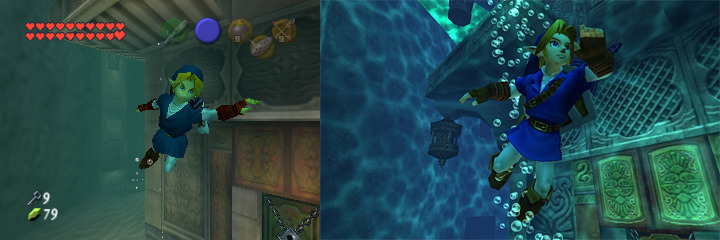 A screenshot comparing link swimming in the Water Temple from the N64 version and the 3DS version of Ocarina of Time