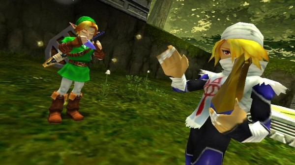 A screenshot of Link learning the Minuet of the Forest from Shiek in Ocarina of Time