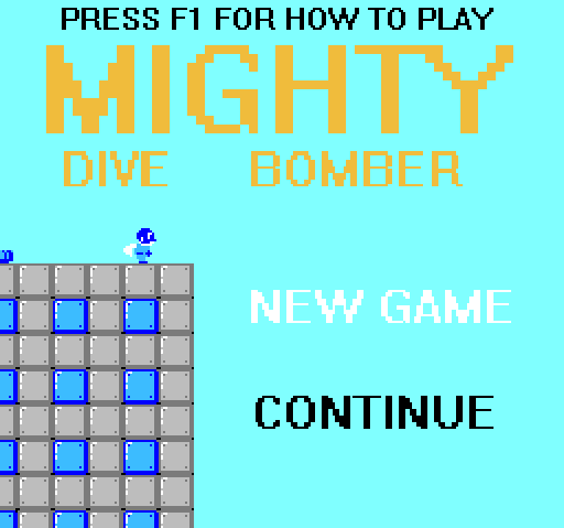 A screenshot of the title screen of the classic version of Mighty Dive Bomber